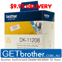 Brother DK-11208 White Label Genuine - 38mm x 90mm - 400 per roll (DK-11208)
