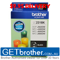 Brother LC-231 Black Ink Cartridge Genuine - Up to 260 pages (LC-231BKS)