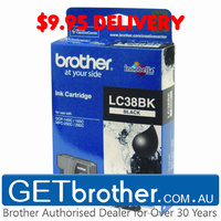 Brother LC-38BK Black Ink Cartridge Genuine - 300 pages (LC-38BK)