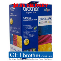 Brother LC-67CL3PK Cyan, Magenta & Yellow Colour Pack Genuine - 325 pages each (LC-67CL3PK)