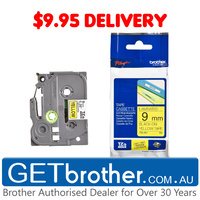 Brother 9mm Black Text On Yellow Tape Genuine - 8 metres (TZe-621)