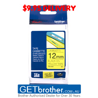 Brother 12mm Black Text On Yellow Tape Genuine - 8 metres (TZe-631)