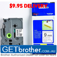 Brother 9mm Black on White Label Genuine Tape - 8 meters (TZe-S221)