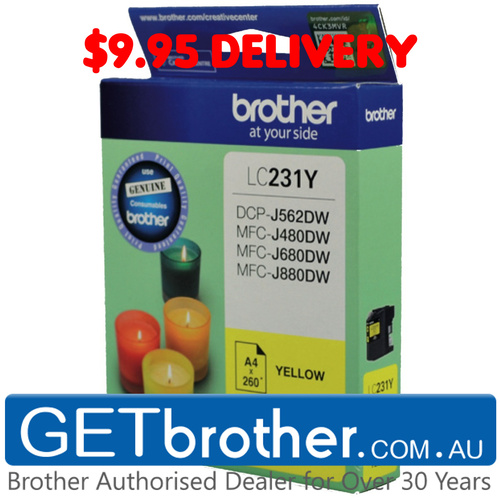Brother LC-231 Yellow Ink Cartridge Genuine - Up to 260 pages (LC-231YS)