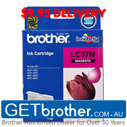 Brother LC-37M Magenta Ink Cartridge Genuine - 300 pages  (LC-37M)
