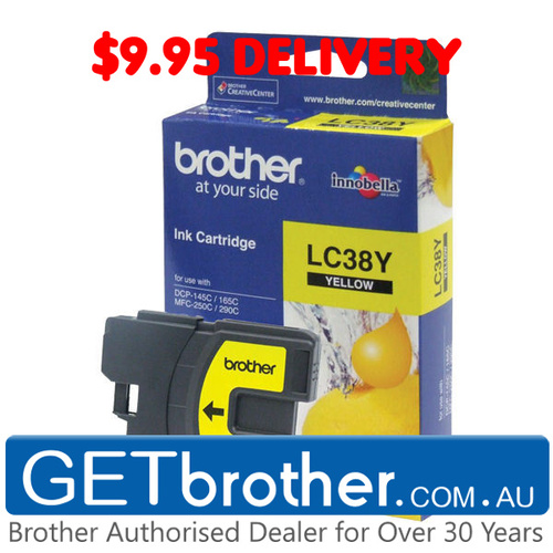 Brother LC-38Y Yellow Ink Cartridge Genuine - 260 pages (LC-38Y)