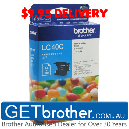 Brother LC-40C Cyan Ink Cartridge Genuine - 300 pages (LC-40C)
