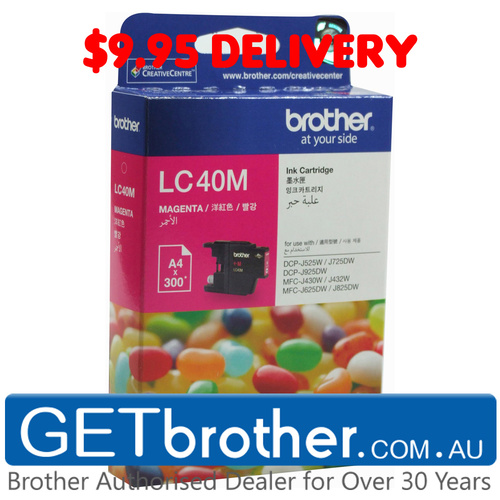 Brother LC-40M Magenta Ink Cartridge Genuine - 300 pages (LC-40M)