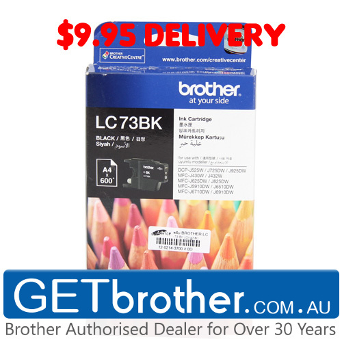 Brother LC-73BK Black Ink Cartridge Genuine - 600 pages  (LC-73BK)