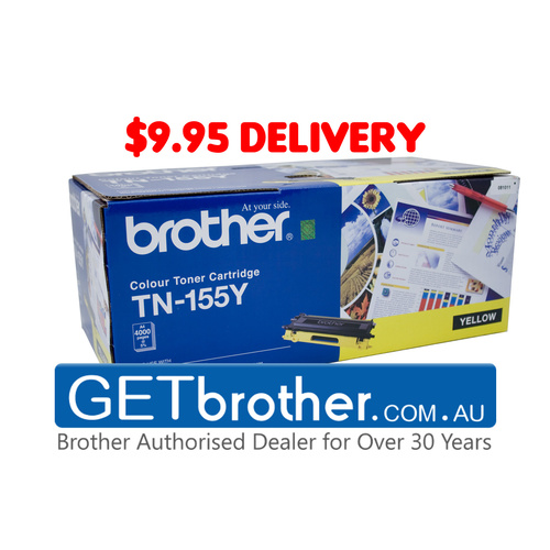 Brother TN-155Y Yellow Toner Cartridge Genuine - 4,000 pages (TN-155Y)