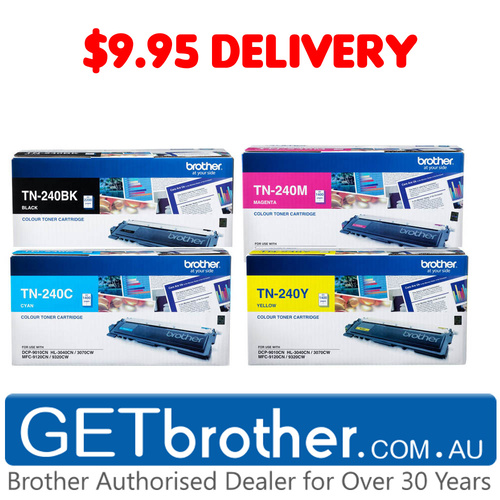 Brother TN-240 Colour 4 Pack Bk,C,M,Y Toner Cartridge Genuine - refer to singles for yields (TN-240CL4PK)