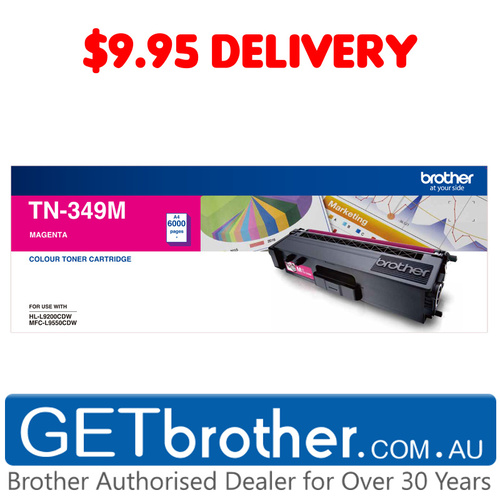 Brother TN-349 Magenta Toner Cartridge Genuine - 6,000 pages (TN-349M)