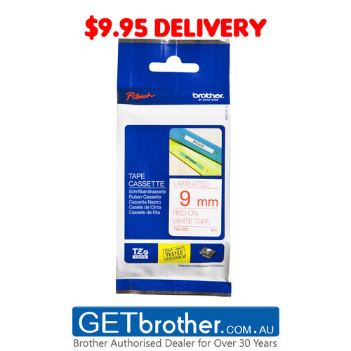 Brother 9mm Red Text On White Tape Genuine - 8 metres (TZe-222)