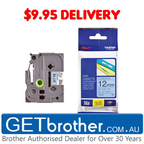 Brother 12mm Black Text On Blue Tape Genuine - 8 metres (TZe-531)