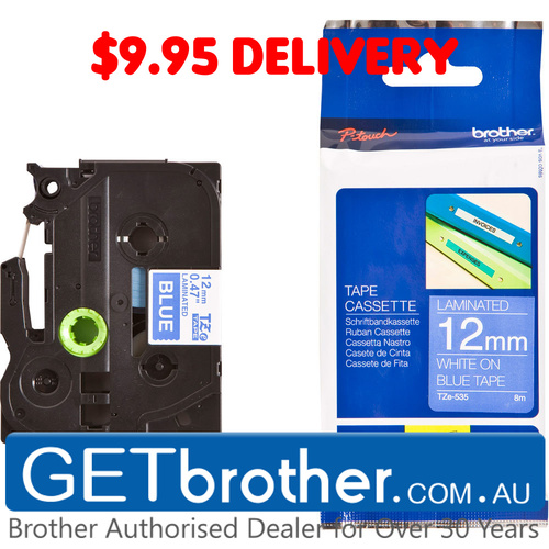 Brother 12mm White Text On Blue Tape Genuine - 8 metres (TZe-535)